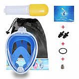 Полнолицевая панорамная маска для плавания Free Breath (S/M) Голубая с креплением для камеры, фото 4