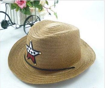 Детская пляжная соломенная шляпа Summer star brown