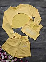Підлітковий костюм-трійка світшот+топ+шорти для дівчинки розмір 8-12 років,колір жовтий, фото 1