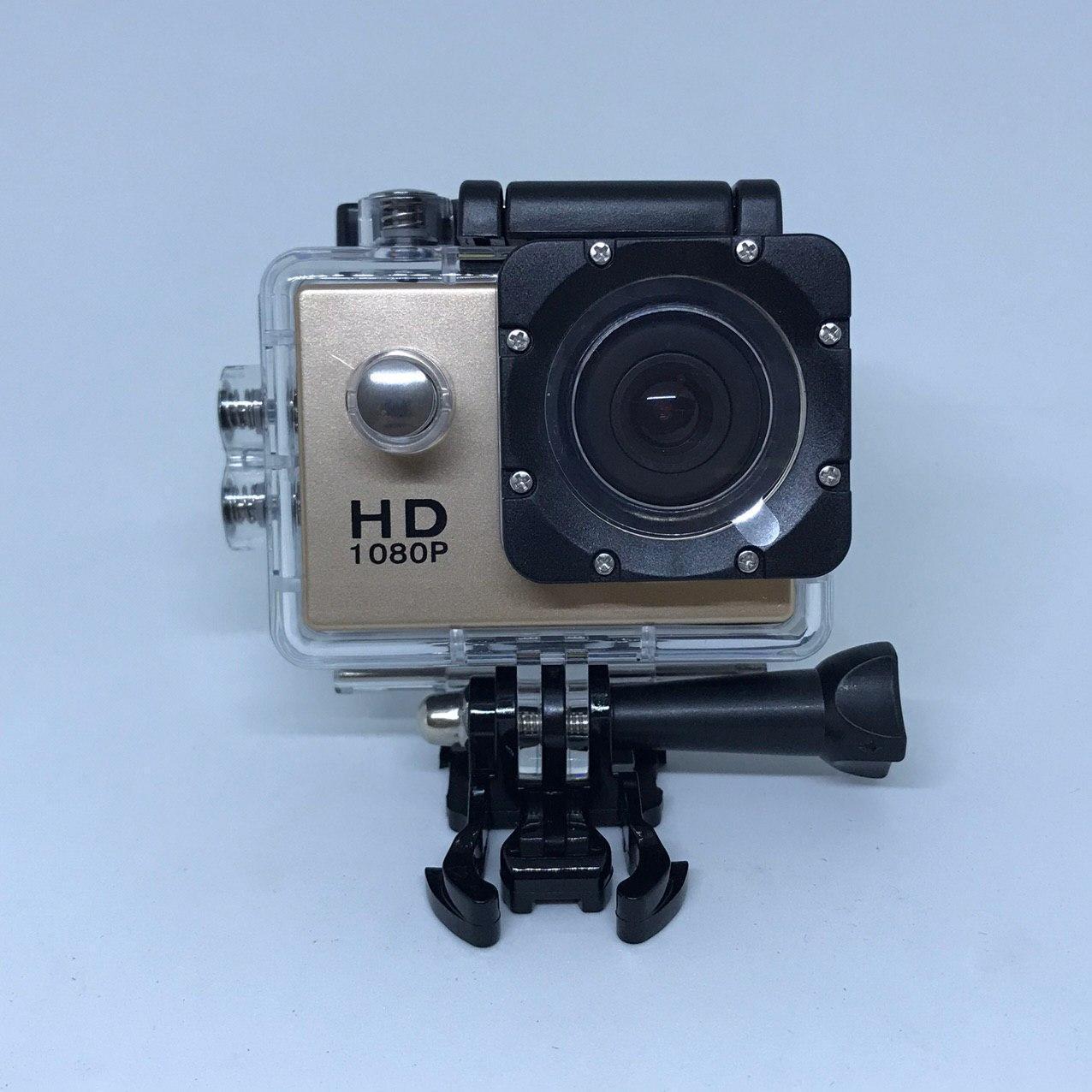 Відеокамера Екшн камера Action Camera D600 з боксом і кріпленнями Золото
