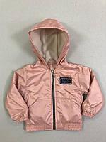 Демісезонна Куртка дитяча для дівчинки на флісі з капюшоном під гумку Friends 2-6 років, персикового кольору