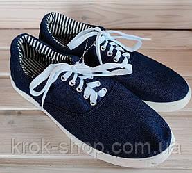 Мокасины  мужские джинс на шнурках Крок оптом