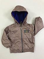 Демісезонна Куртка дитяча для хлопчиків на флісі з капюшоном під гумку Friends 2-6 років, світло-коричнева
