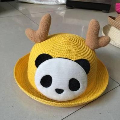 Детская пляжная соломенная шляпа Panda star yellow