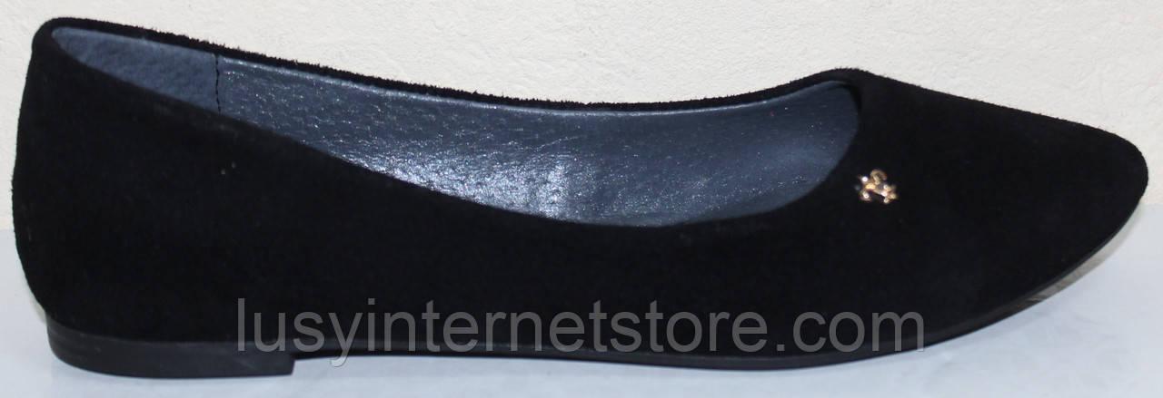 Балетки женские замшевые черные от производителя модель РУ215