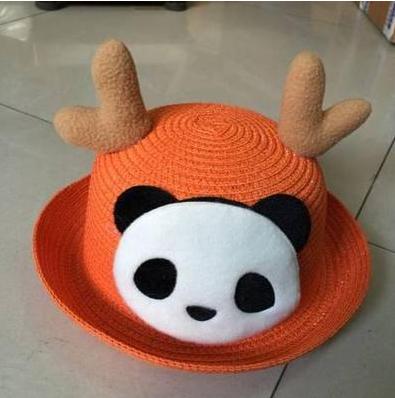 Детская пляжная соломенная шляпа Panda star orange