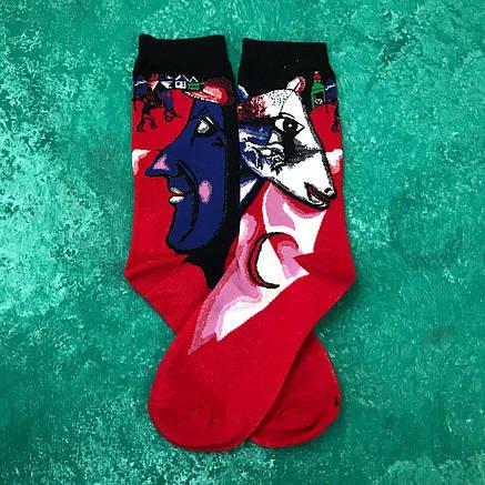 Шкарпетки Високі Жіночі Чоловічі City-A Our Tanks Картини Я і моя село (Марк Шагал), фото 2