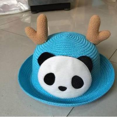 Детская пляжная соломенная шляпа Panda star blue