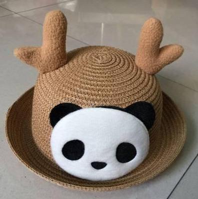 Детская пляжная соломенная шляпа Panda star brown
