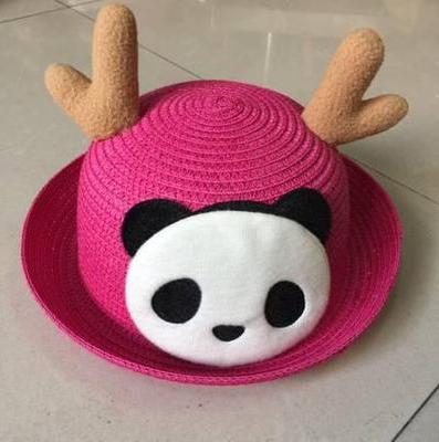Детская пляжная соломенная шляпа Panda star pink