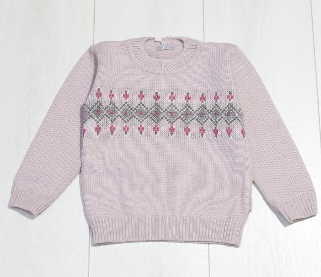 Детский свитер для девочкис узором, круглая горловина, ТМ Лютик (размер 104)
