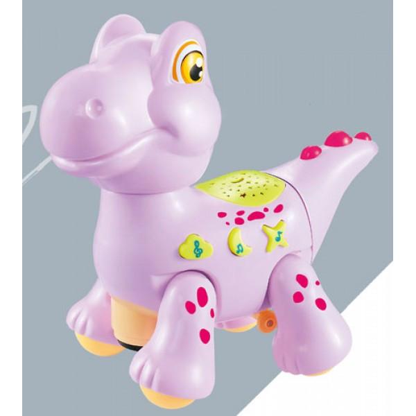 Електронна Музична іграшка Лід лампа Мультяшний динозаврик D Jin Shang Lu рожевий