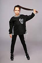 Теплый комплект: бомбер оверсайз и брюки, черный, трикотаж с начесом, Моне, р.122, 128, 158