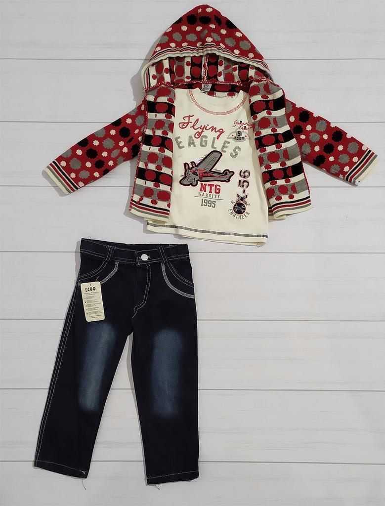 Комплект одежды 3-ка для мальчика (джинсы+футболка длинный рукав+кофта вязанная), Ecoo (размер 3(98))