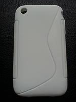 Стильный белый силиконовый чехол для Iphone 3
