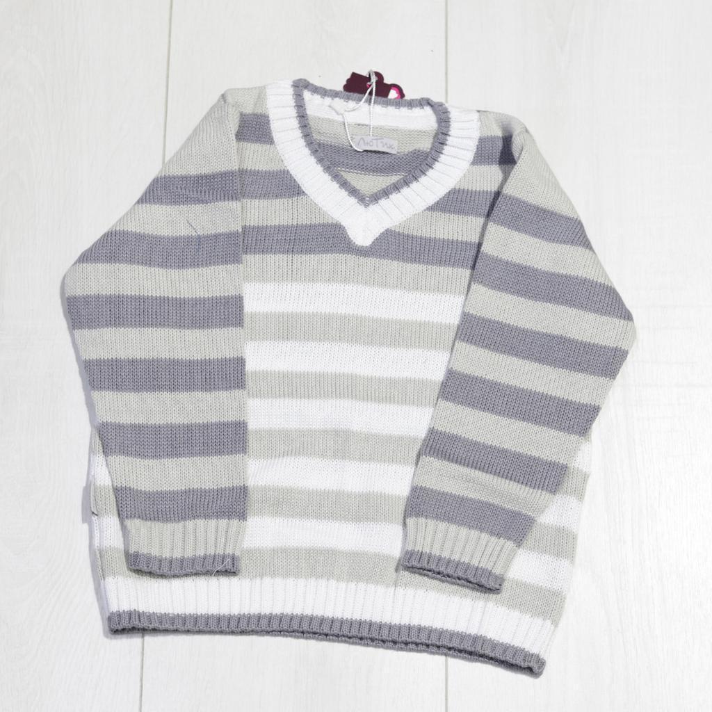 Детский свитер для мальчика в полоску, V-образная горловина, ТМ Лютик (размер 110)