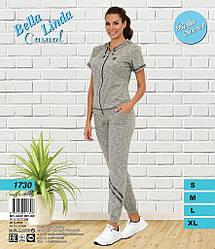 Комплект женский (кофта короткий рукав на молнии +штаны низ манжет).BellaSecret (размер S)