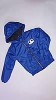 Демісезонна Куртка дитяча для хлопчиків на флісі з капюшоном під гумку Fortnite 6-10 років, синього кольору