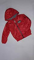 Куртка детская демисезонная на флисе с капюшоном под резинку Fortnite 6-10 лет, красного цвета