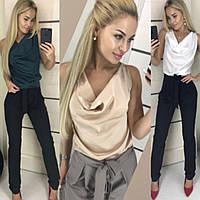 Костюм женский 2-ка, брючный, модный, легкий, стильный, шелковая майка и брюки, офисный, повседневный