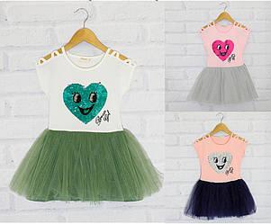 Платье для девочки, короткий рукав, фатиновая юбка (Сердце с пайетками),  Breeze (размер 110)