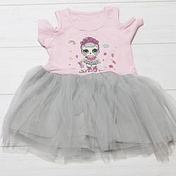 Платье для девочки, короткий рукав, фатиновая юбка (LOL), Breeze (размер 104)