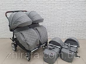 Прогулочная коляска для двойни, близнецов  погодок с люлькой переноской Carrello Connect New Rock Gray