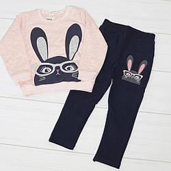 Костюм демисезонный для девочки:  футболка длинный рукав +штаны, (рисунок Зайка),Breeze (размер 98)