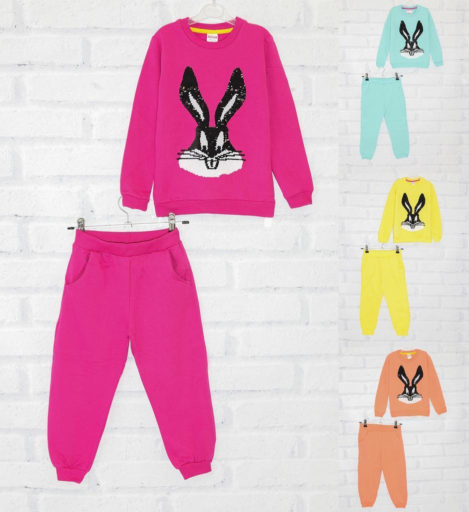 Костюм для девочки зимний утепленный с начесом: свитшот+штаны, с пайетками и рисунком Зайчик, Dasilva (размер