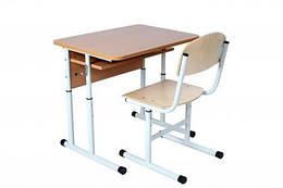 Комплект стіл учнівський 1-місний з полицею №4-6 + стілець Т-подібний №4-6