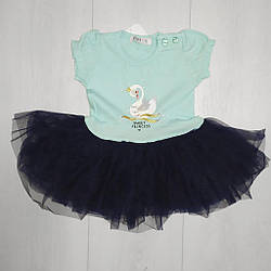 Платье для девочки, короткий рукав, фатиновая юбка (Лебедь), Breeze (размер 74)