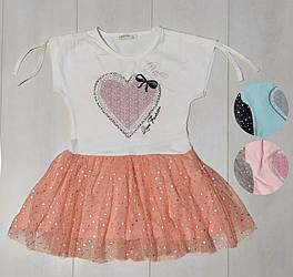 Платье для девочки, короткий рукав, фатиновая юбка (Сердце+Звездочка), Breeze (размер 116)