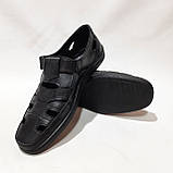 Чоловічі шкіряні туфлі літні, Walker прошиті перфорація на липучці чорні, фото 2