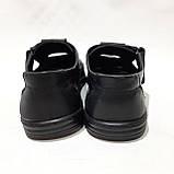 Чоловічі шкіряні туфлі літні, Walker прошиті перфорація на липучці чорні, фото 7