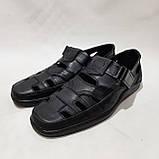 Чоловічі шкіряні туфлі літні, Walker прошиті перфорація на липучці чорні, фото 4