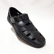 Чоловічі шкіряні туфлі літні, Walker прошиті перфорація на липучці чорні