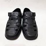 Чоловічі шкіряні туфлі літні, Walker прошиті перфорація на липучці чорні, фото 3