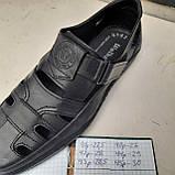 Чоловічі шкіряні туфлі літні, Walker прошиті перфорація на липучці чорні, фото 9