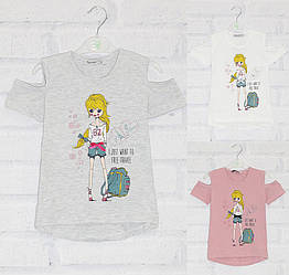 Футболка с коротким рукавом для девочки, стразы, .рисунок Девочка+Париж, оптом, ПАК/5шт (110-128) х/б, My