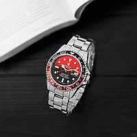 Годинники наручні чоловічі Rolex Submariner 6478 Silver-Black-Red-Black Годинник Ролекс кварцові
