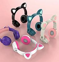 Детские беспроводные блютуз наушники светящиеся с кошачьими ушками  Bluetooth Cat Ear ZW-028 LED