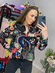 Рубашка женская хлопок с контрастным геометрическим узором свободного кроя