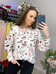 Рубашка женская хлопок белая с принтом свободного кроя