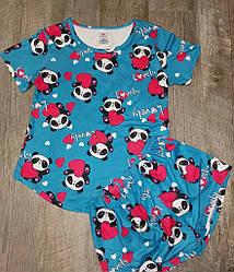Комплект летний женский: футболка с коротким рукавом+шорты, рисунок Кошка,  SAIMEIQI (размер L)