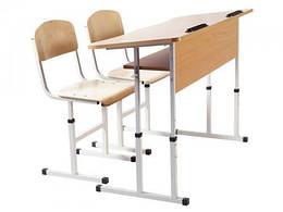 Комплект стіл учнівський 2-місний з полицею антисколіозний, №4-6 + стілець Т-подібний №4-6