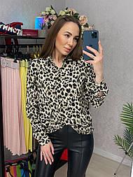 Рубашка женская хлопок с леопардовым принтом свободного кроя