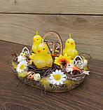 Пасхальна, великодня композиція з курчатами зі свічками на стіл., фото 4