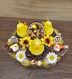 Пасхальна, великодня композиція з курчатами зі свічками на стіл., фото 5
