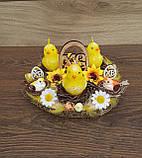 Пасхальна, великодня композиція з курчатами зі свічками на стіл., фото 8