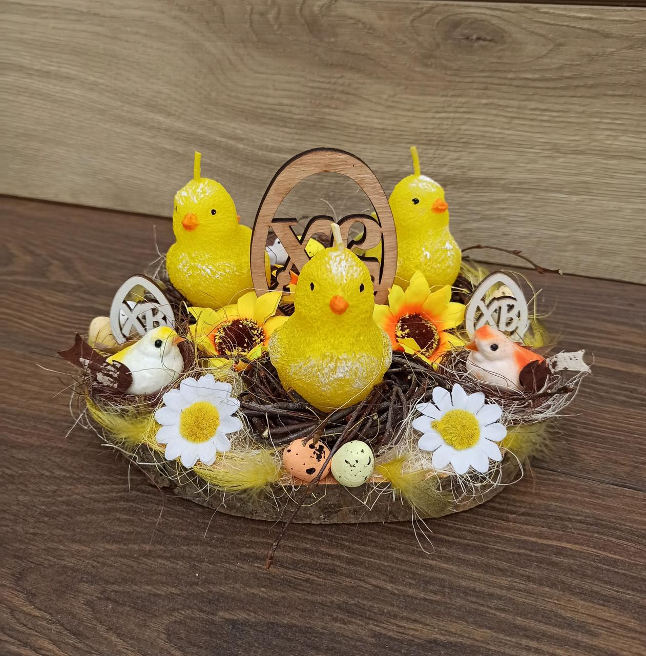 Пасхальна, великодня композиція з курчатами зі свічками на стіл.